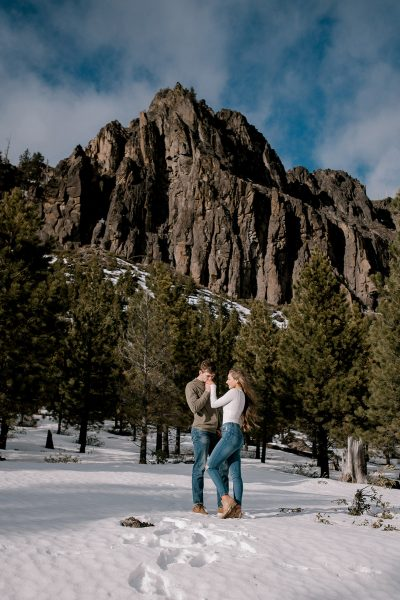 Tumalo Falls engagement in Central Oregon. Photo by Danielle Peterson Photography
