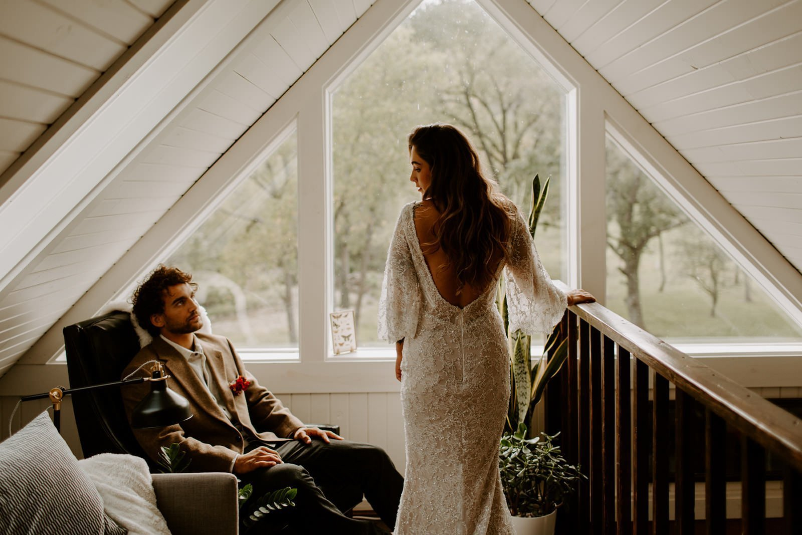 cabin elopement in Wisconsin where couple gets ready together