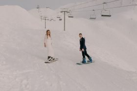 Snowboarding Elopement in Girdwood, Alaska