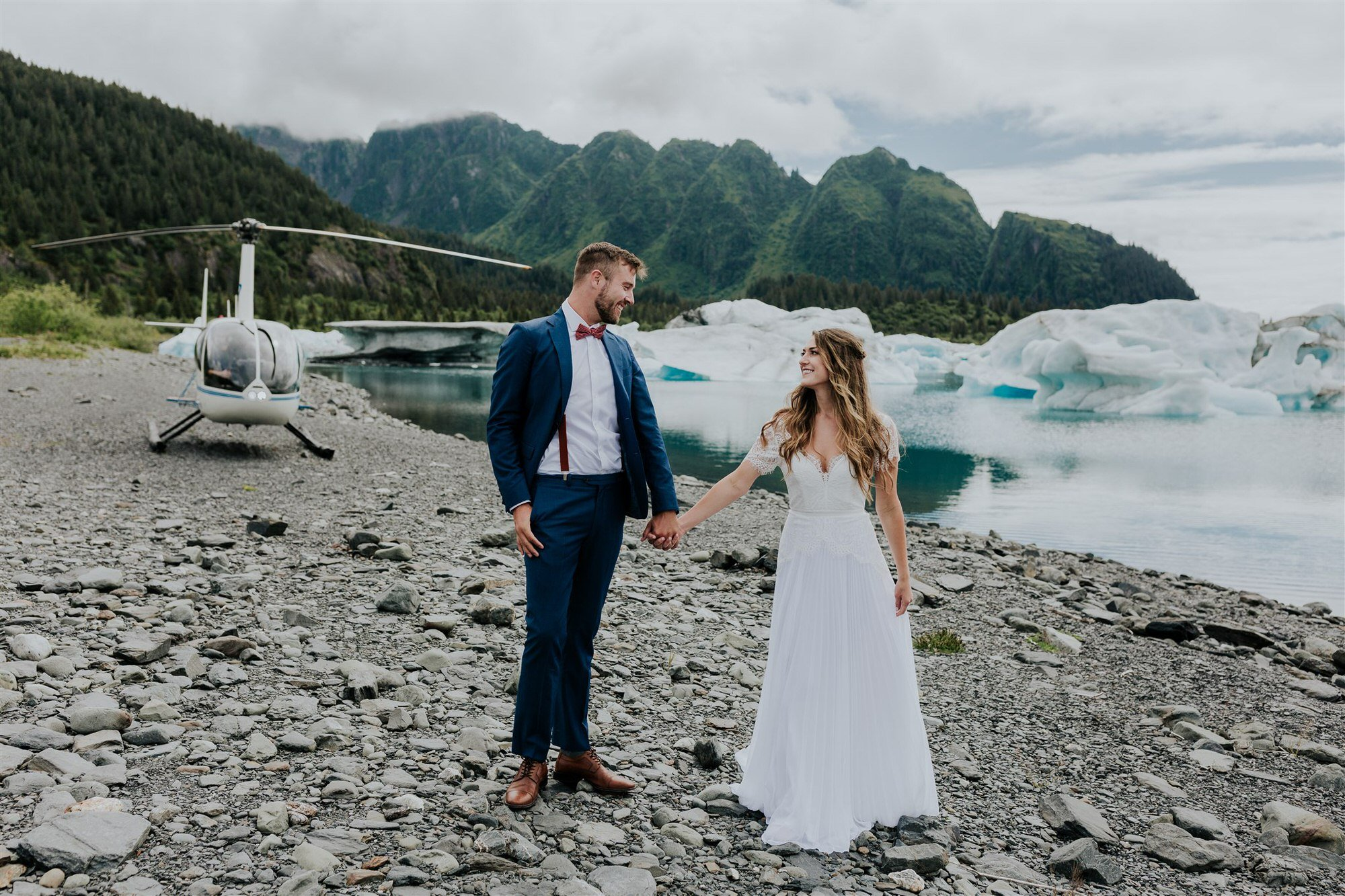 helicopter elopement inspiration in Alaska surrounded by glaciers