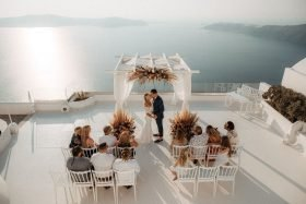 Sunset Destination Wedding in Santorini, Greece with Family