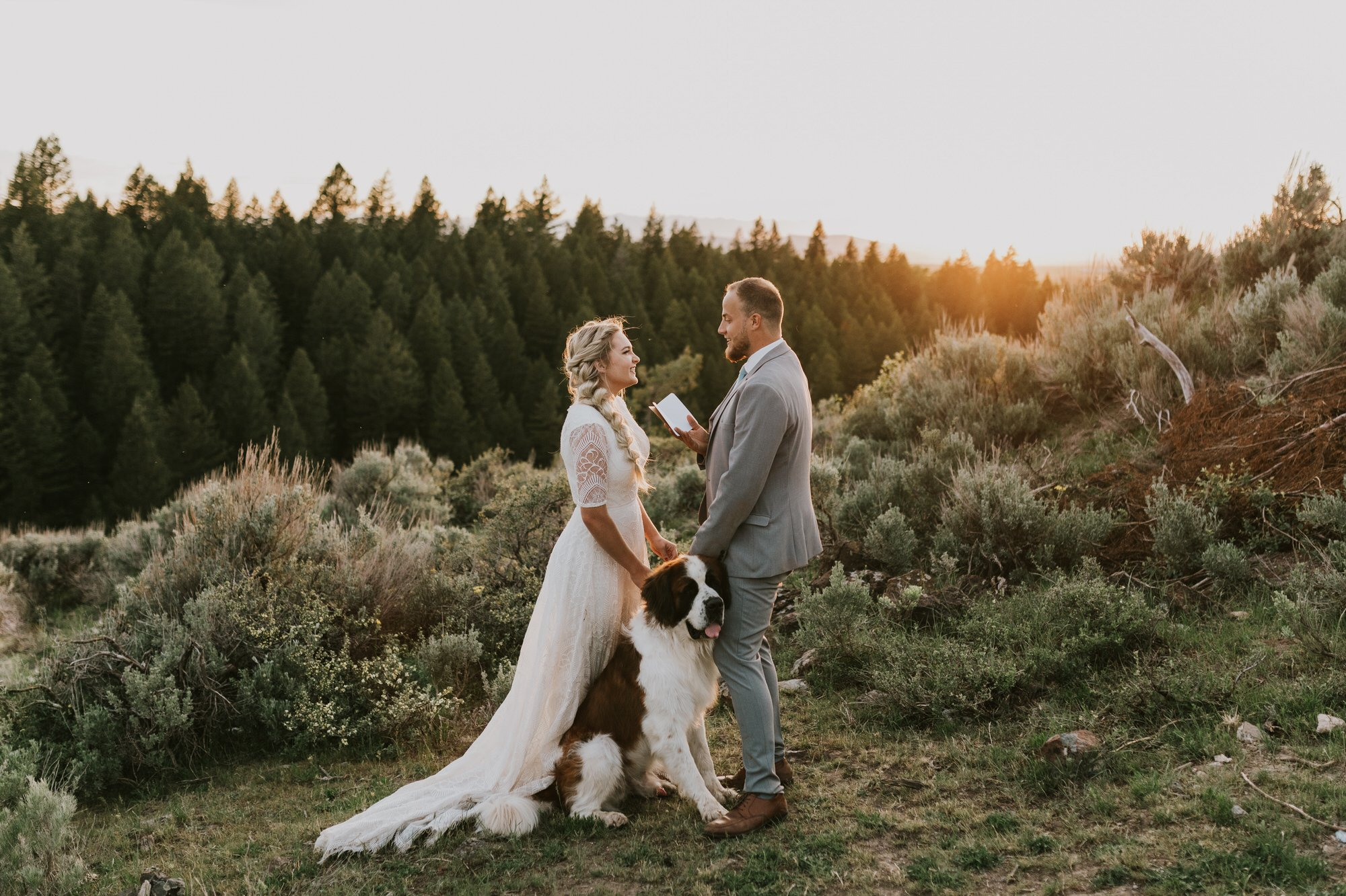 Idaho elopement commitment ceremony with dog