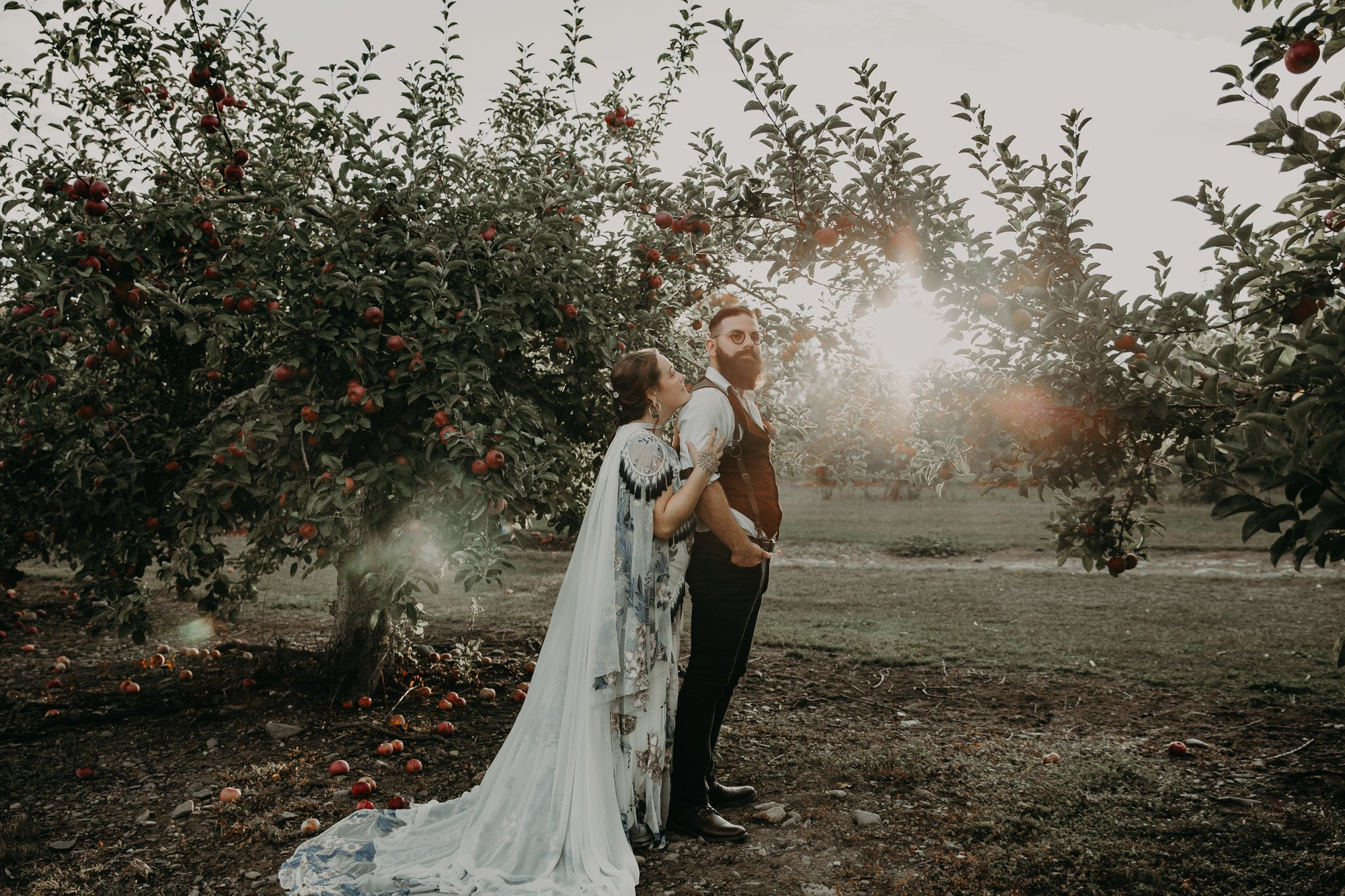 Meadow Brook Orchards elopement in MA, portraits of couple