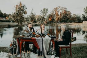 Grandfather Officiating Elopement at Meadow Brook Orchards in Massachusetts