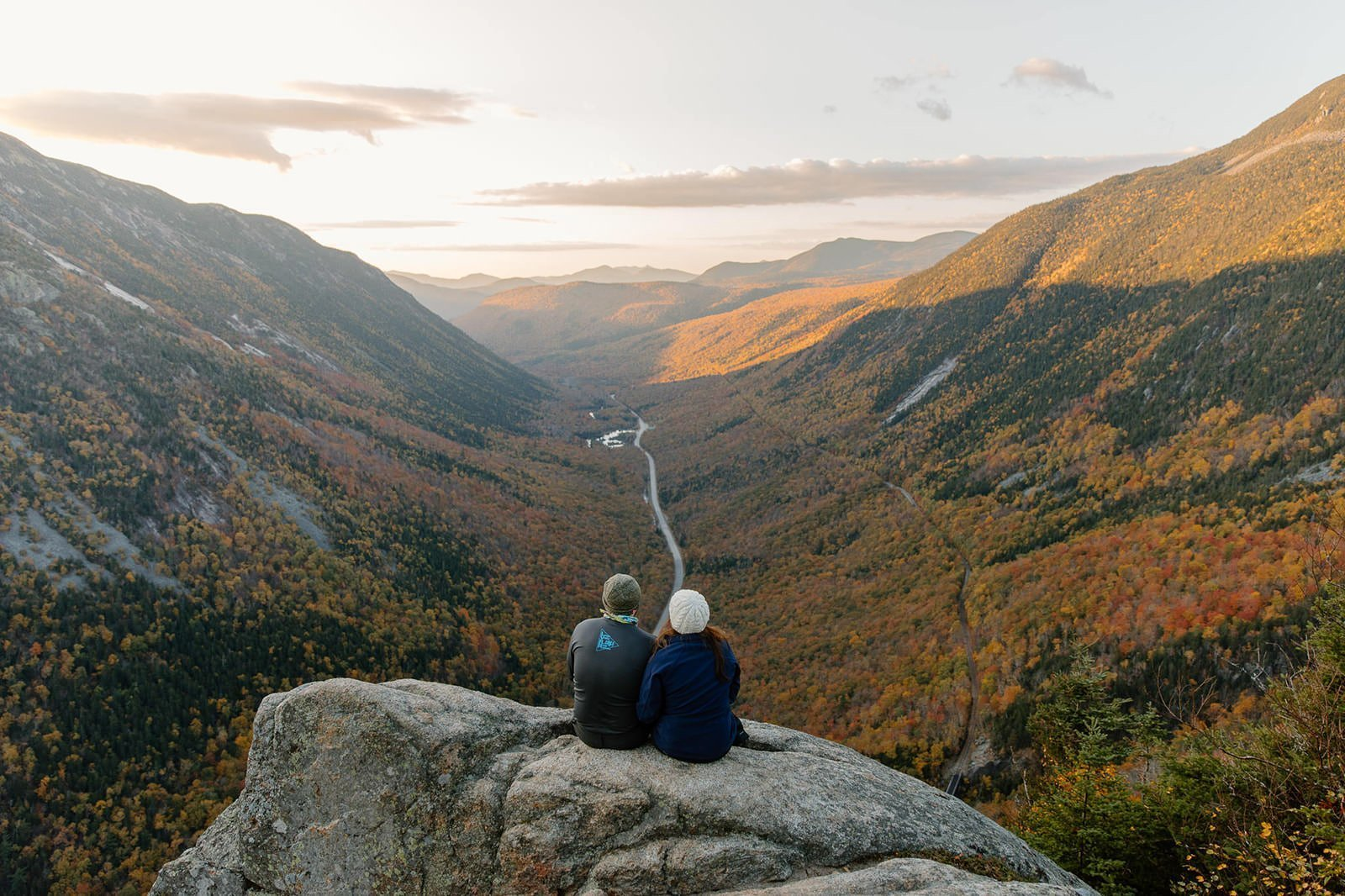 view of fall foliage at an overlook in NH