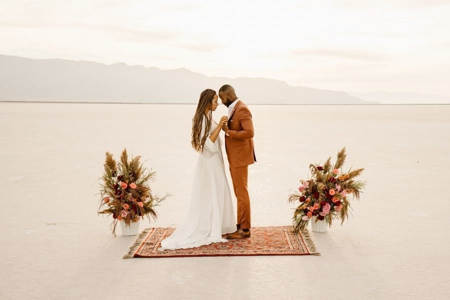 Sunset Salt Flats Elopement Inspiration in Utah