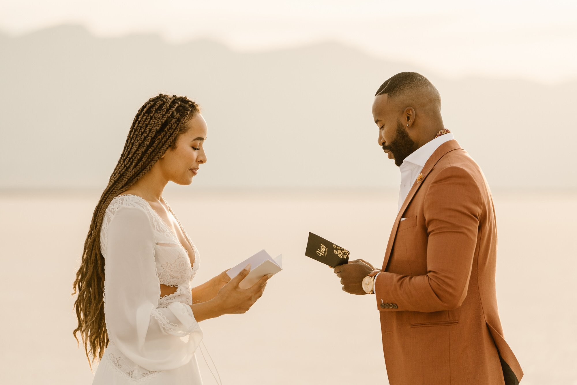 exchanging vows during elopement ceremony