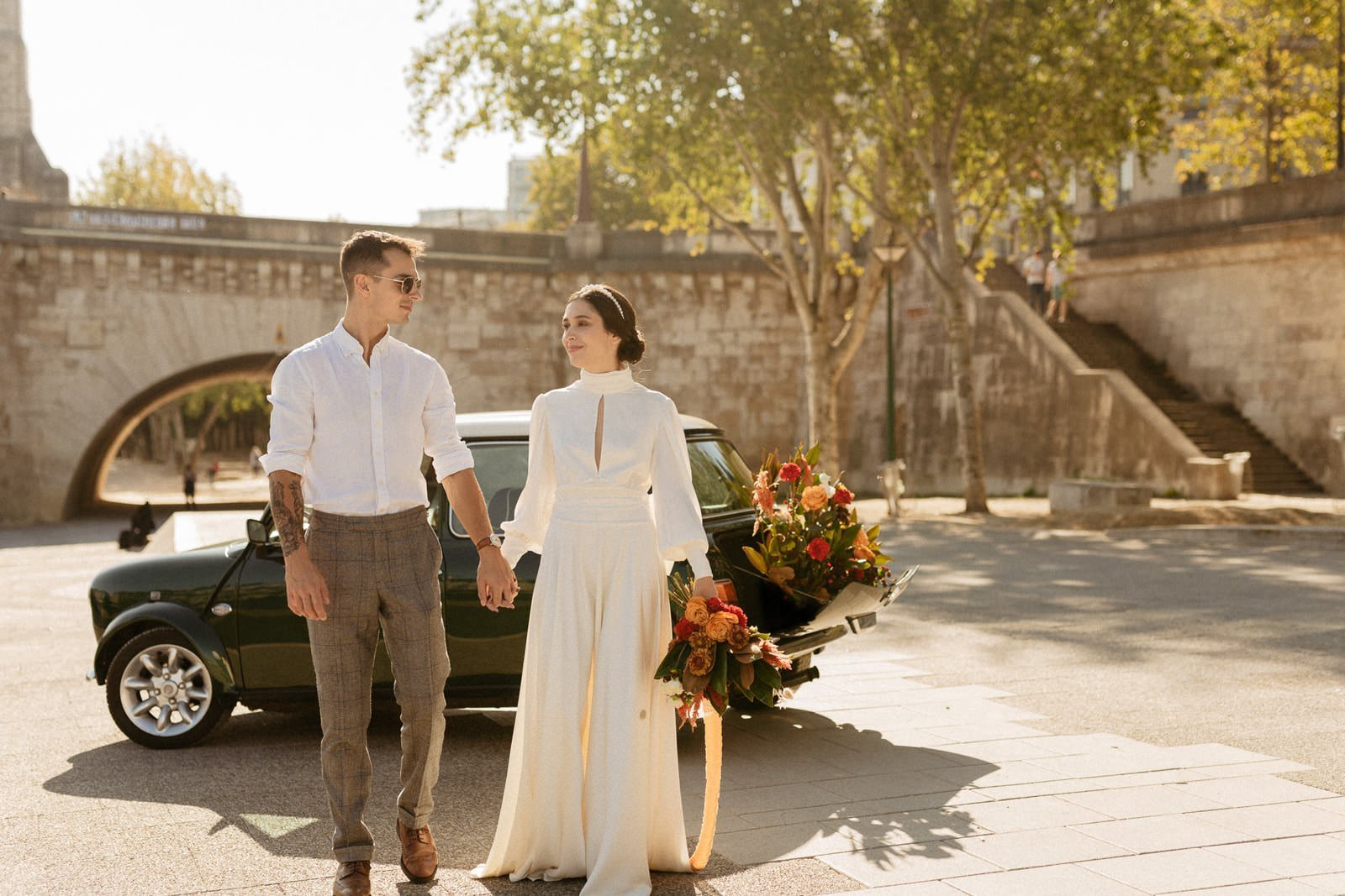 elopement style for paris wedding day