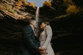 Micro Wedding Ceremony at The Hunter Houses in the Catskills in New York