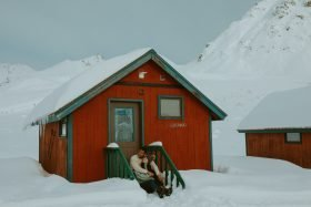 Snowy Engagement Session at Hatcher Pass Lodge