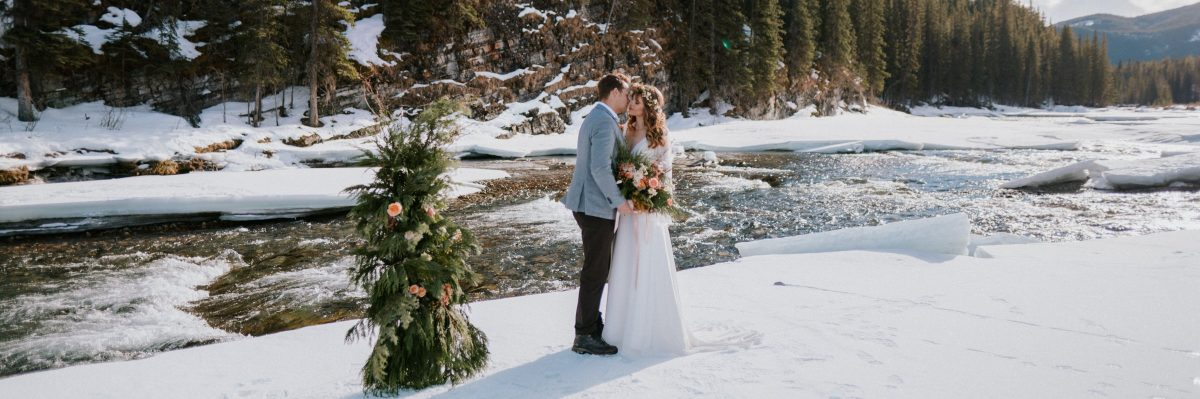 Simple Winter Mountain Elopement Inspiration in The Canadian Rockies, CA